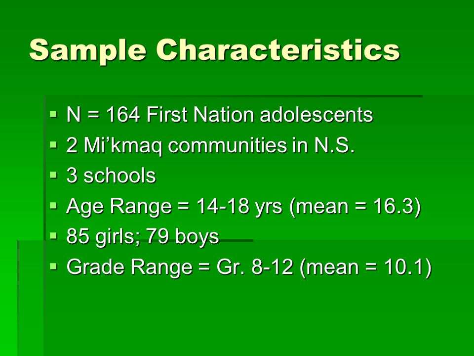 Sample Characteristics  N = 164 First Nation adolescents  2 Mi'kmaq communities in N.S.  3 schools  Age Range = 14-18 yrs (mean = 16.3)  85 girls