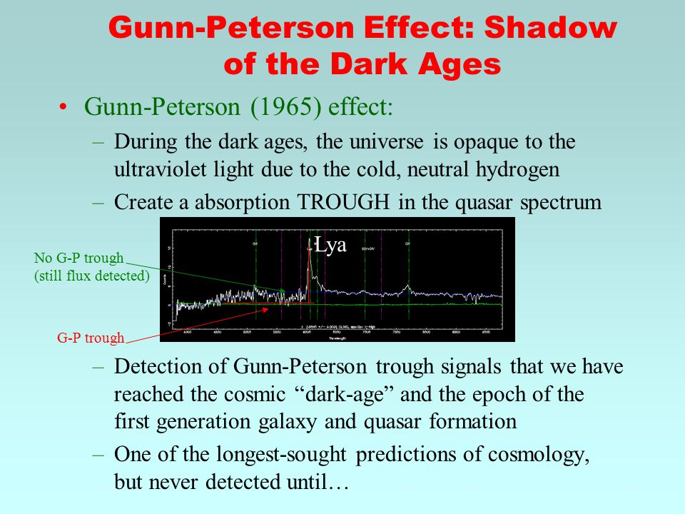 Gunn-Peterson Effect: Shadow of the Dark Ages Gunn-Peterson (1965) effect: –During the dark ages, the universe is opaque to the ultraviolet light due to the cold, neutral hydrogen –Create a absorption TROUGH in the quasar spectrum –Detection of Gunn-Peterson trough signals that we have reached the cosmic dark-age and the epoch of the first generation galaxy and quasar formation –One of the longest-sought predictions of cosmology, but never detected until… Lya No G-P trough (still flux detected) G-P trough