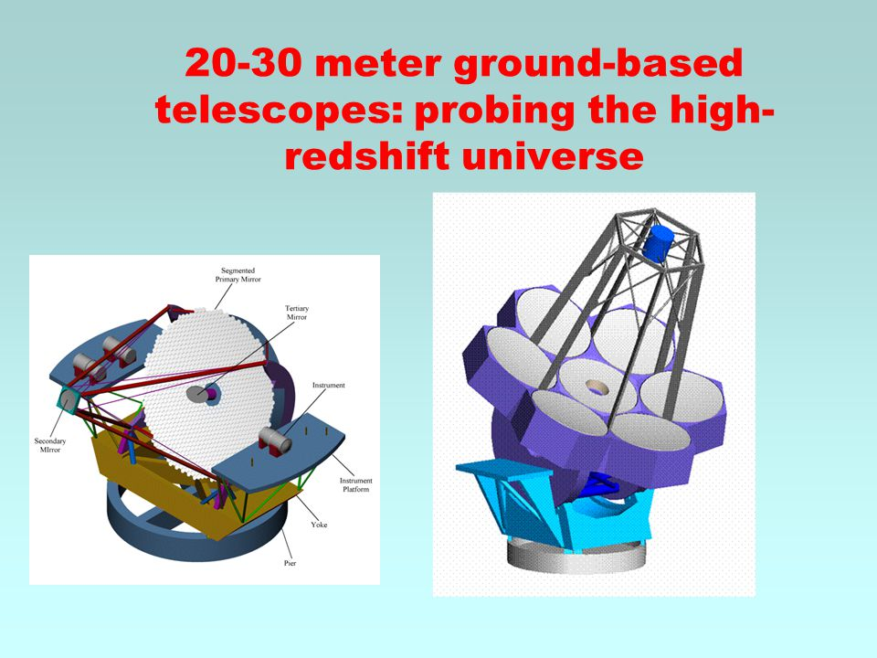 20-30 meter ground-based telescopes: probing the high- redshift universe