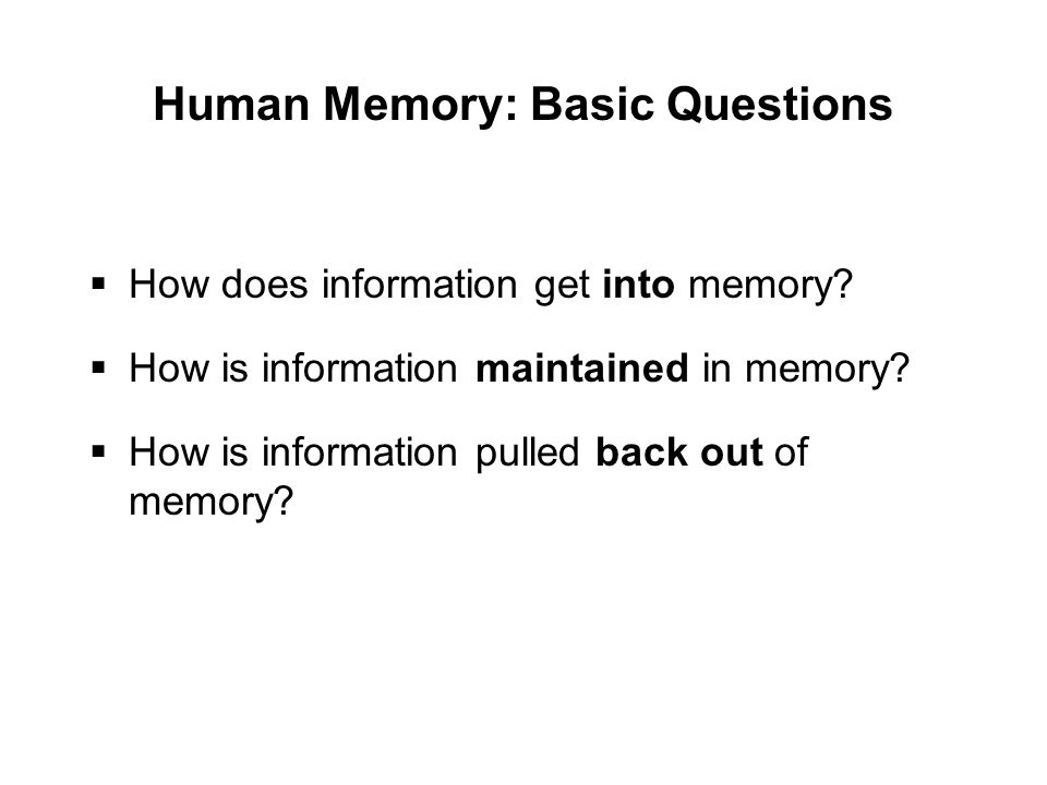 Human Memory: Basic Questions  How does information get into memory.