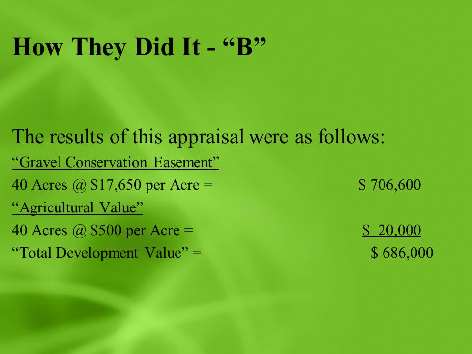How They Did It - B The results of this appraisal were as follows: Gravel Conservation Easement 40 Acres @ $17,650 per Acre = $ 706,600 Agricultural Value 40 Acres @ $500 per Acre = $ 20,000 Total Development Value = $ 686,000