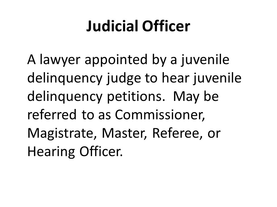 Judicial Officer A lawyer appointed by a juvenile delinquency judge to hear juvenile delinquency petitions.