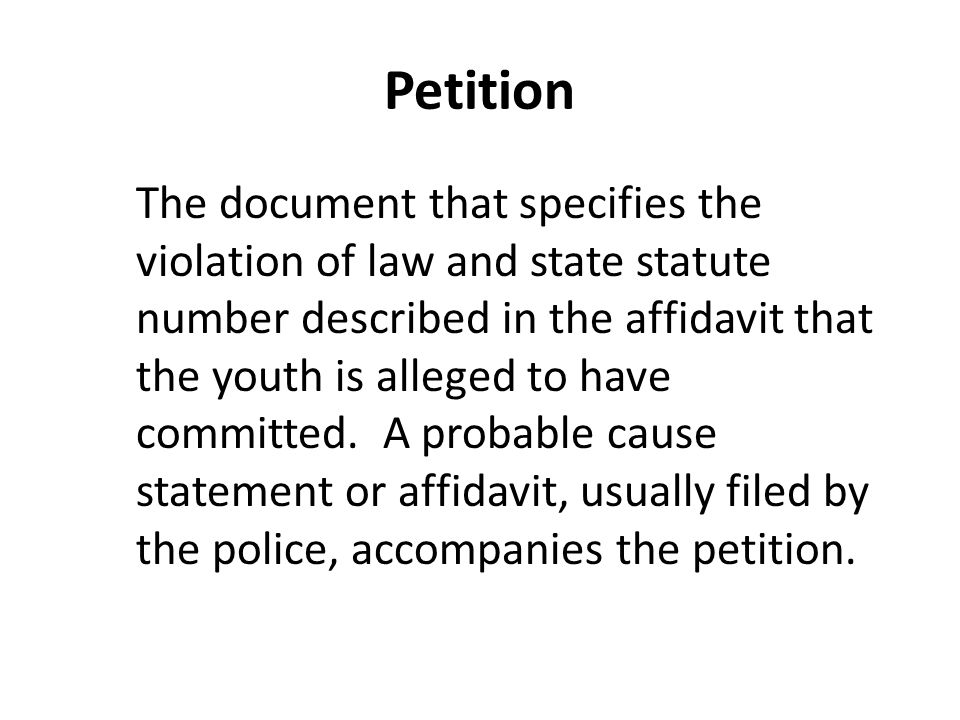 Petition The document that specifies the violation of law and state statute number described in the affidavit that the youth is alleged to have committed.