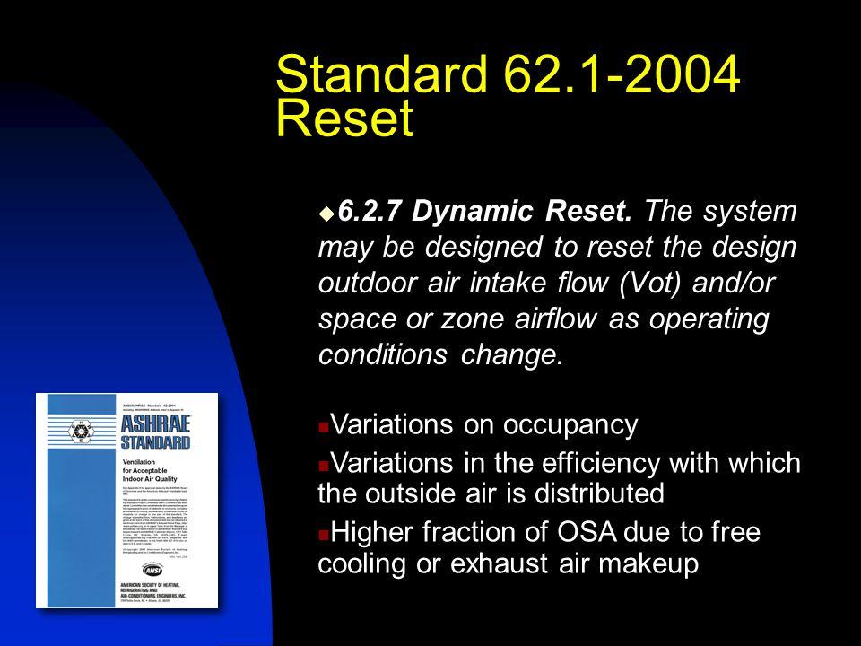 Standard 62.1-2004 Reset  6.2.7 Dynamic Reset.