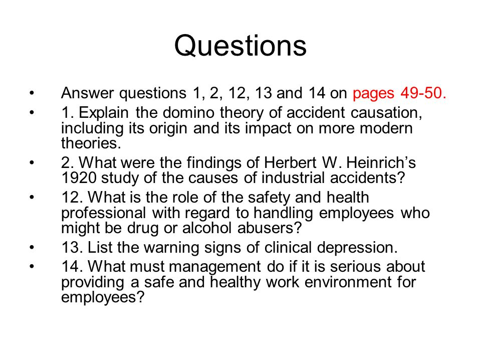Questions Answer questions 1, 2, 12, 13 and 14 on pages 49-50.