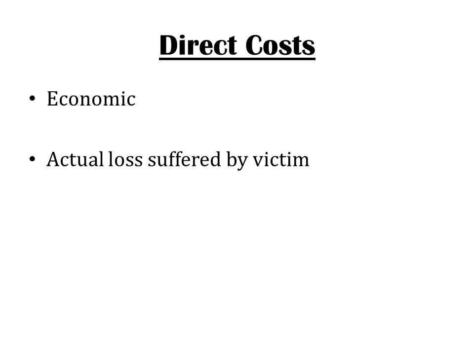 Direct Costs Economic Actual loss suffered by victim
