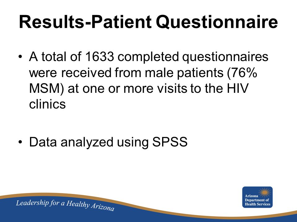 Results-Patient Questionnaire A total of 1633 completed questionnaires were received from male patients (76% MSM) at one or more visits to the HIV clinics Data analyzed using SPSS