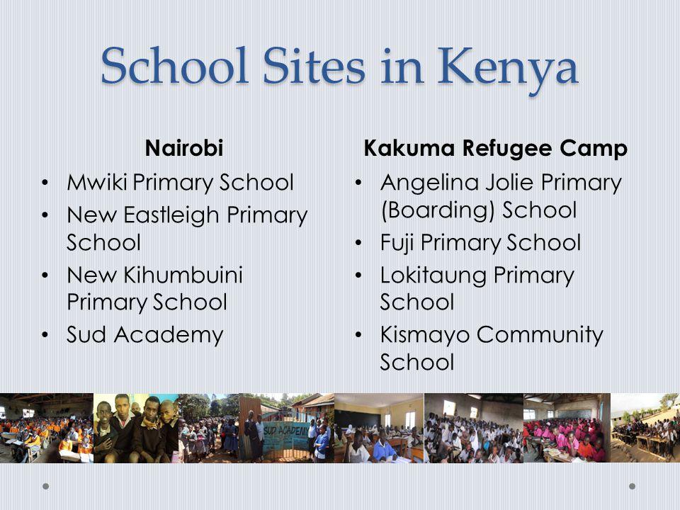 School Sites in Kenya NairobiKakuma Refugee Camp Mwiki Primary School New Eastleigh Primary School New Kihumbuini Primary School Sud Academy Angelina