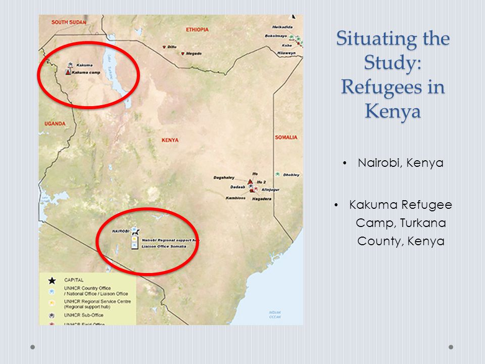 Situating the Study: Policy Context 2010 Kenyan Constitution : right of all children born and residing in Kenya to education Education Bill of 2012: right of a child to access basic education Refugee policy : Shifting support for refugees Educational access: Camps vs urban locations