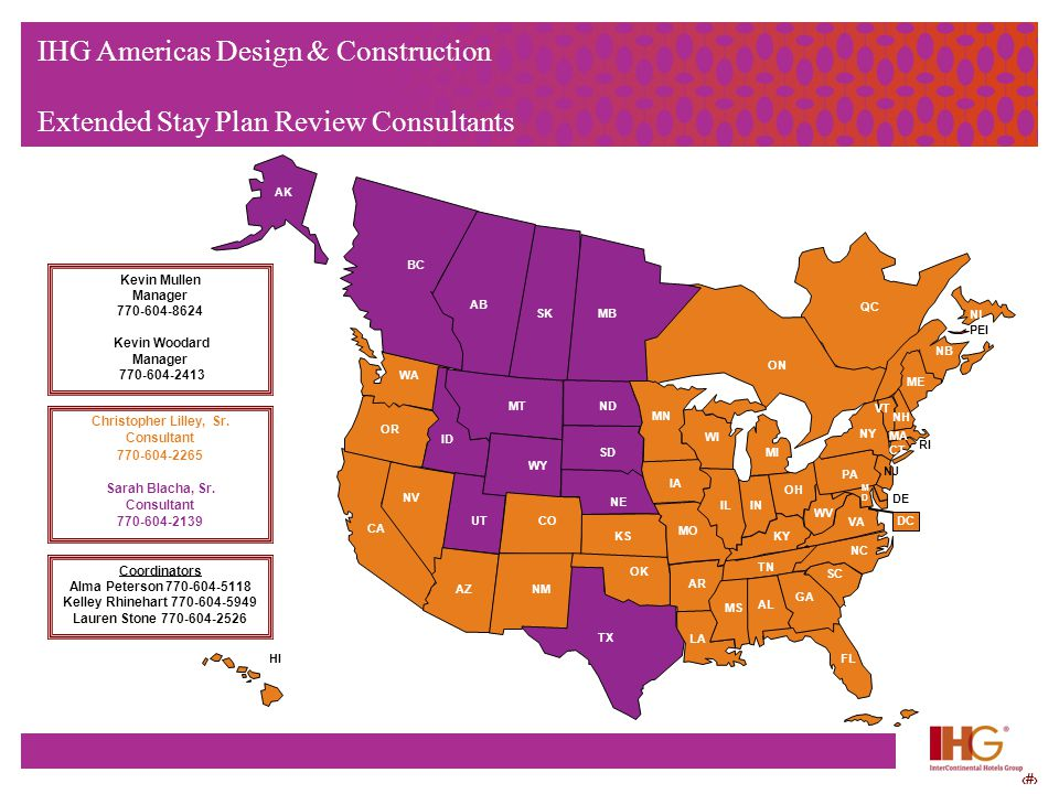 77 IHG Americas Design & Construction Extended Stay Plan Review Consultants AZNM TX CA WA OR ID NV UTCO WY MT NE SD MN IA MO KS OK FL GA SC NC AL TN M