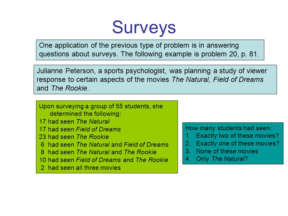 Surveys One application of the previous type of problem is in answering questions about surveys. The following example is problem 20, p. 81. Julianne