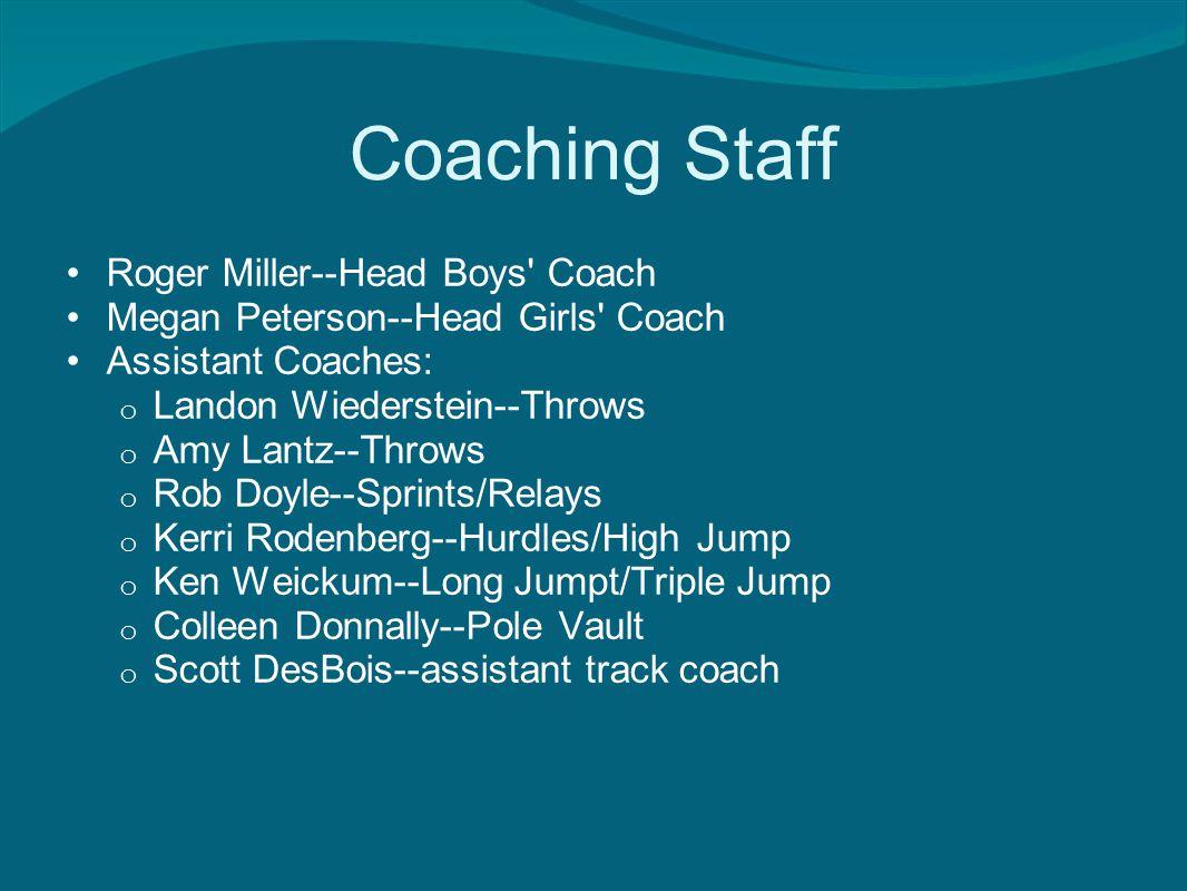 Coaching Staff Roger Miller--Head Boys Coach Megan Peterson--Head Girls Coach Assistant Coaches: o Landon Wiederstein--Throws o Amy Lantz--Throws o Rob Doyle--Sprints/Relays o Kerri Rodenberg--Hurdles/High Jump o Ken Weickum--Long Jumpt/Triple Jump o Colleen Donnally--Pole Vault o Scott DesBois--assistant track coach