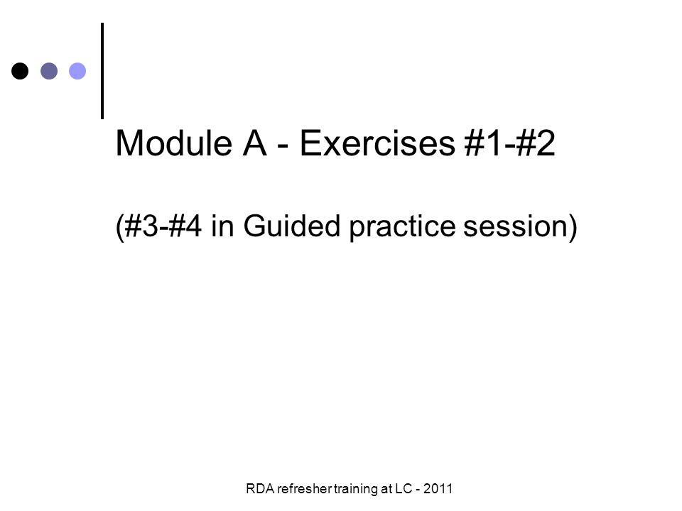 RDA refresher training at LC - 2011 Exercise #6 c.