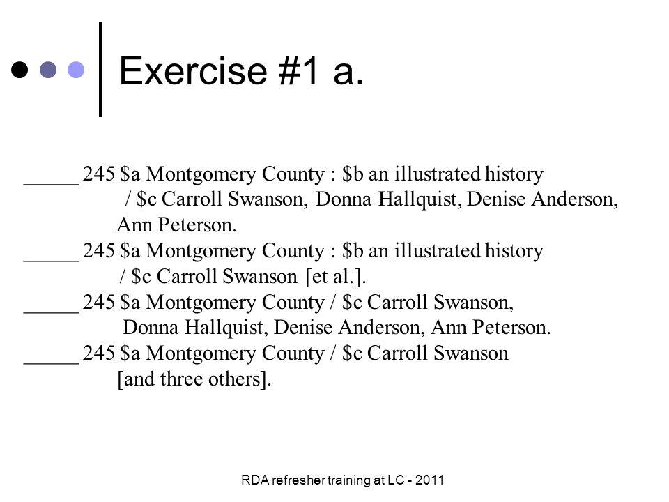 RDA refresher training at LC - 2011 Exercise #2 b.