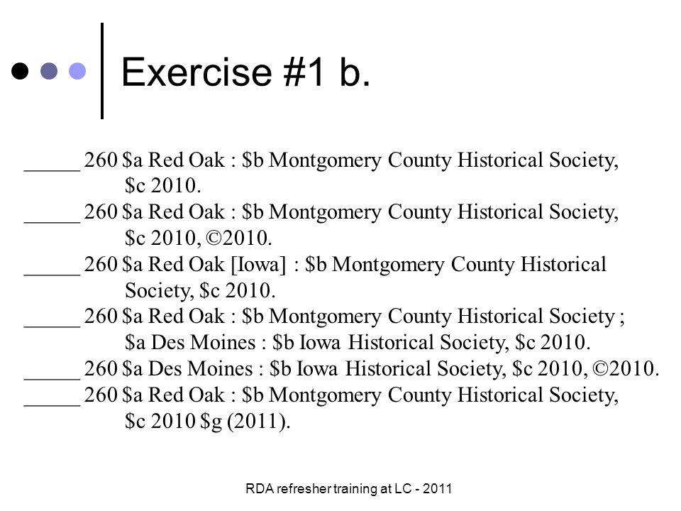 RDA refresher training at LC - 2011 Exercise #1 b.