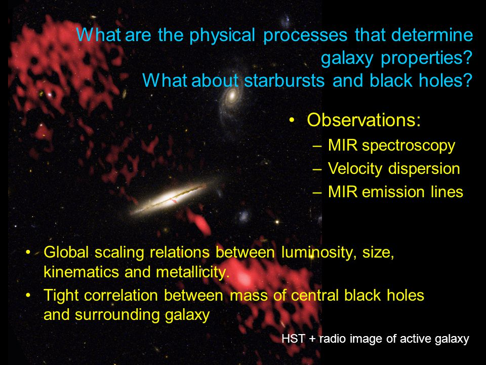 What are the physical processes that determine galaxy properties? What about starbursts and black holes? Global scaling relations between luminosity,