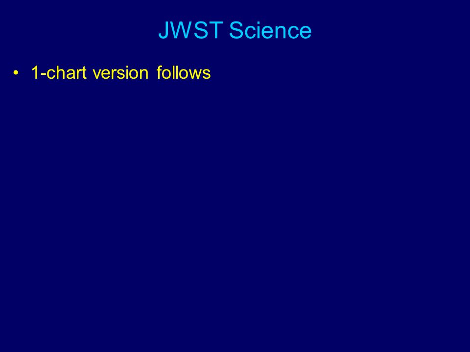 JWST Science 1-chart version follows