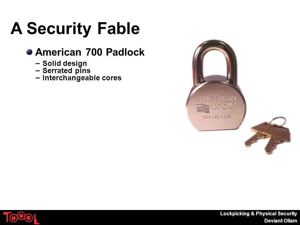 Lockpicking & Physical Security Deviant Ollam A Security Fable American 700 Padlock Solid design Serrated pins Interchangeable cores