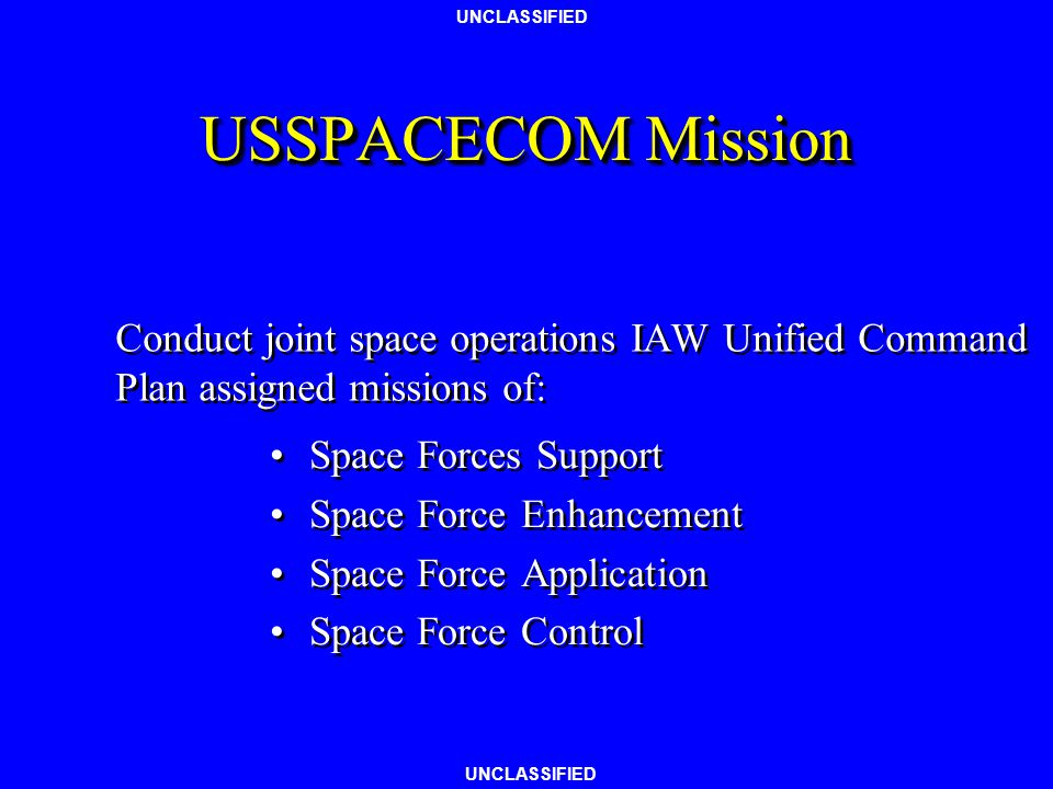 UNCLASSIFIED US Space Organization Relationships President Congress NASA DoD DOIDOC CIA NSA NIMA JCS USSPACECOM 14AFNAVSPACEUSARSPACE USASMDC ASPO NRO AFSPACE NOAA AIR FORCENAVYARMY USGS Any Questions?
