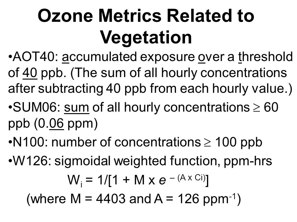 Ozone Metrics Related to Vegetation AOT40: accumulated exposure over a threshold of 40 ppb.