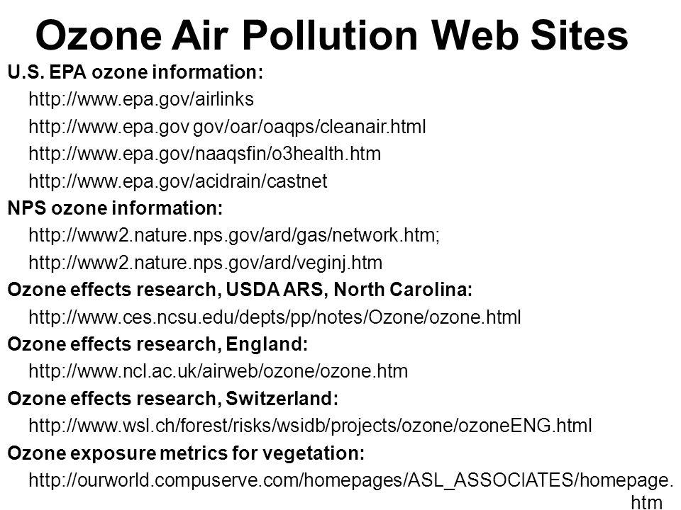 Ozone Air Pollution Web Sites U.S.