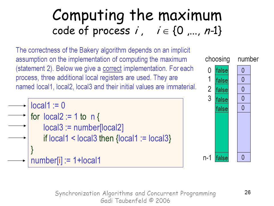 26 Computing the maximum code of process i, i  {0,..., n-1} local1 := 0 for local2 := 1 to n { local3 := number[local2] if local1 < local3 then {loca