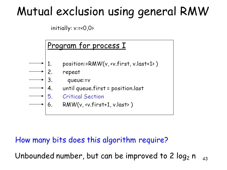 43 Mutual exclusion using general RMW Program for process I 1.position:=RMW(v, ) 2.repeat 3. queue:=v 4.until queue.first = position.last 5.Critical S