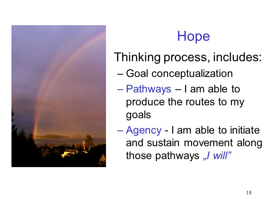 "18 Hope Thinking process, includes: –Goal conceptualization –Pathways – I am able to produce the routes to my goals –Agency - I am able to initiate and sustain movement along those pathways ""I will"