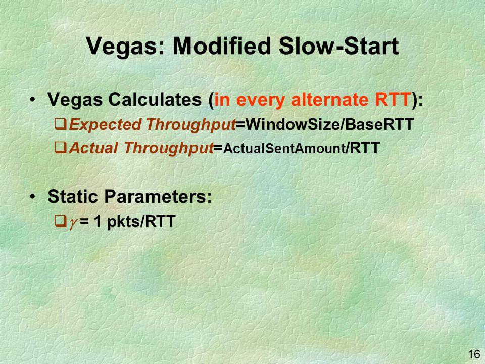 16 Vegas: Modified Slow-Start Vegas Calculates (in every alternate RTT):  Expected Throughput=WindowSize/BaseRTT  Actual Throughput= ActualSentAmoun