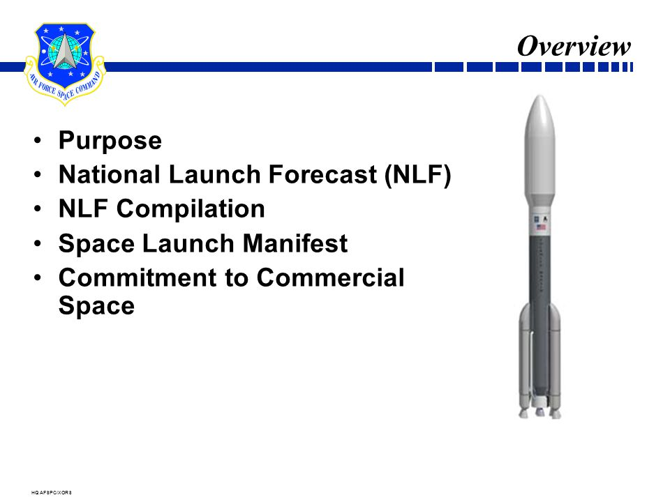 HQ AFSPC/XORS Overview Purpose National Launch Forecast (NLF) NLF Compilation Space Launch Manifest Commitment to Commercial Space