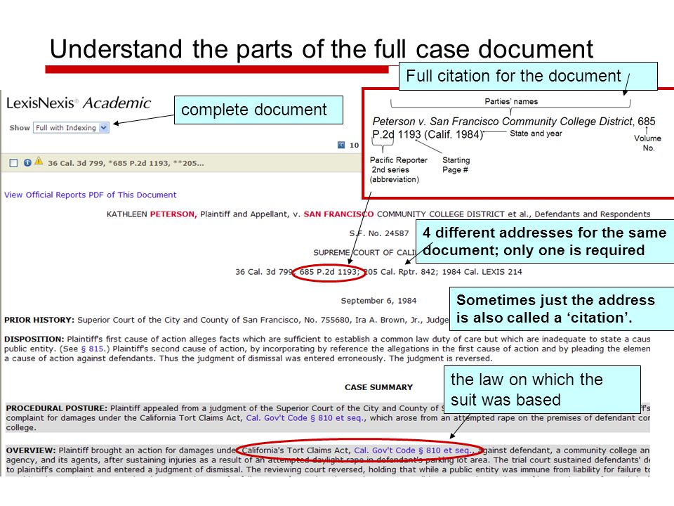 Understand the parts of the full case document the law on which the suit was based complete document Full citation for the document 4 different addres