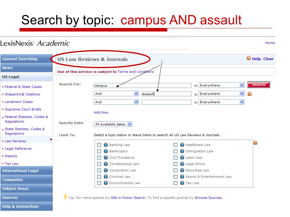 Search by topic: campus AND assault