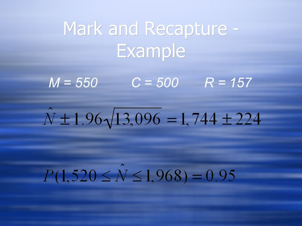 Mark and Recapture - Example M = 550 C = 500 R = 157