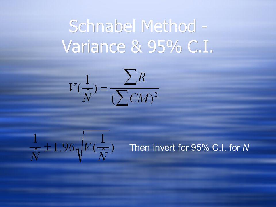Schnabel Method - Variance & 95% C.I. Then invert for 95% C.I. for N