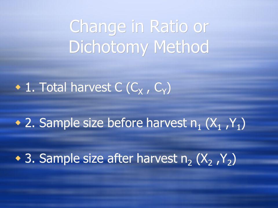 Change in Ratio or Dichotomy Method  1. Total harvest C (C X, C Y )  2.