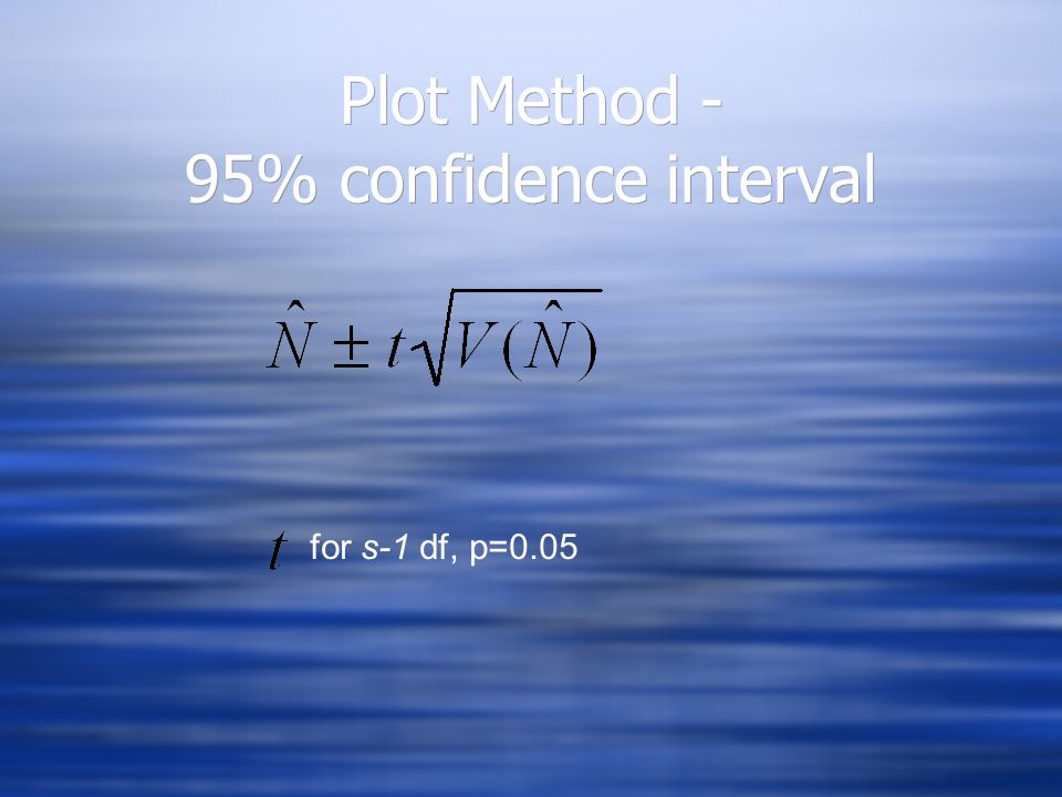 Plot Method - Example  Pond area = 100 m 2  Size of plot = 1 m 2  Average number of fish per plot = 1.5  Pond area = 100 m 2  Size of plot = 1 m 2  Average number of fish per plot = 1.5