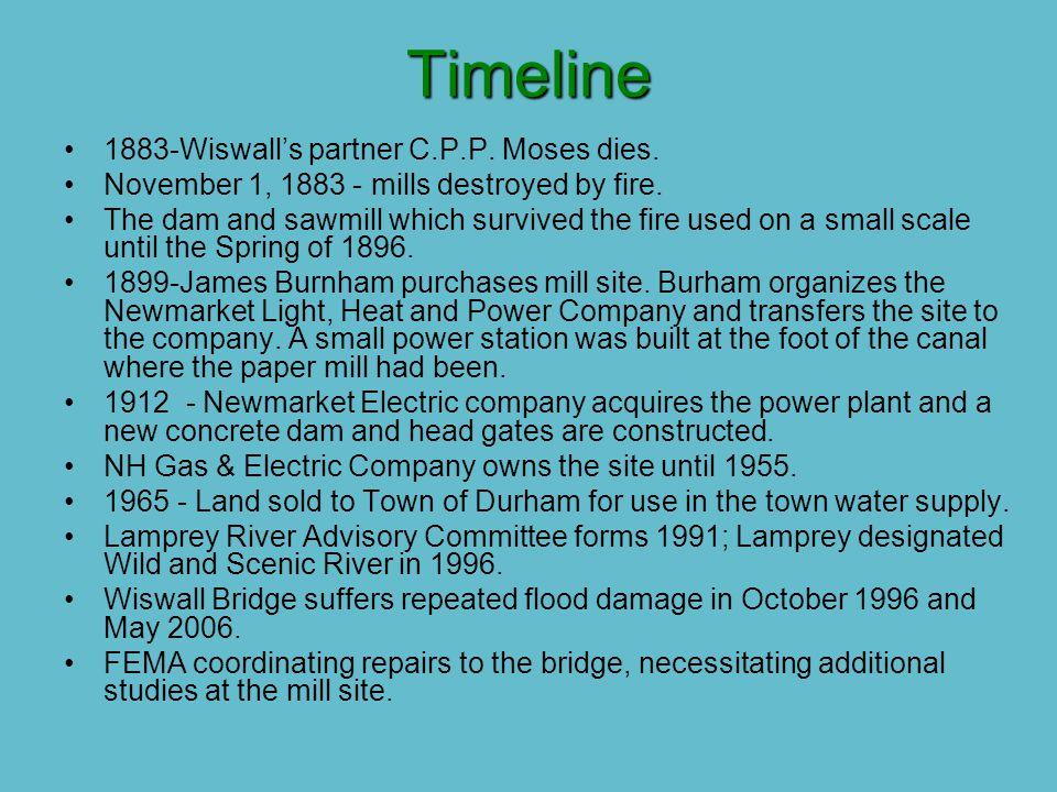 Timeline 1883-Wiswall's partner C.P.P. Moses dies.