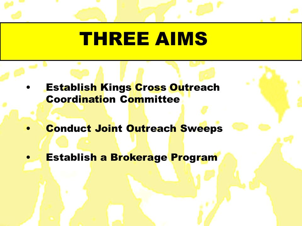 THREE AIMS Establish Kings Cross Outreach Coordination Committee Conduct Joint Outreach Sweeps Establish a Brokerage Program