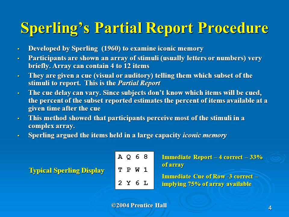 4 Sperling's Partial Report Procedure Developed by Sperling (1960) to examine iconic memory Developed by Sperling (1960) to examine iconic memory Part