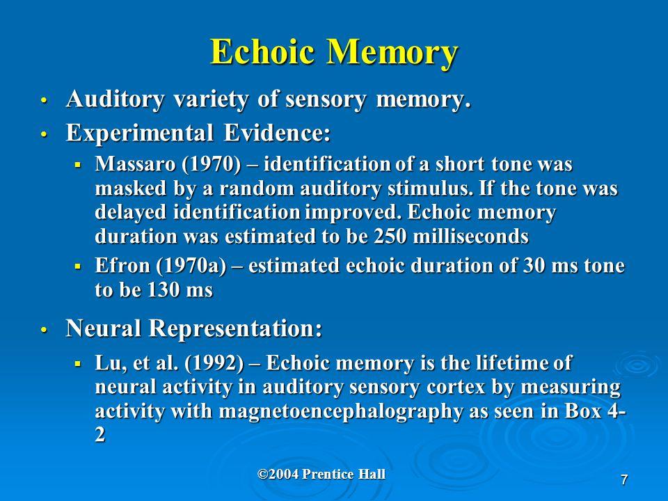7 Echoic Memory Auditory variety of sensory memory. Auditory variety of sensory memory. Experimental Evidence: Experimental Evidence:  Massaro (1970)