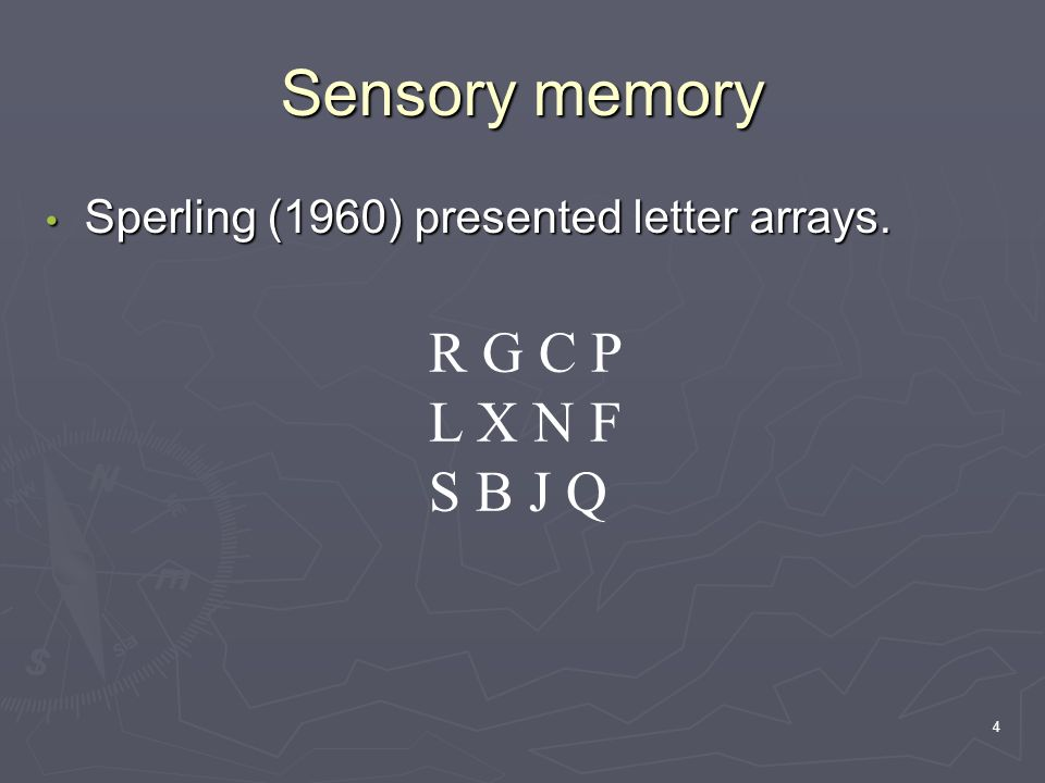 4 Sensory memory Sperling (1960) presented letter arrays.