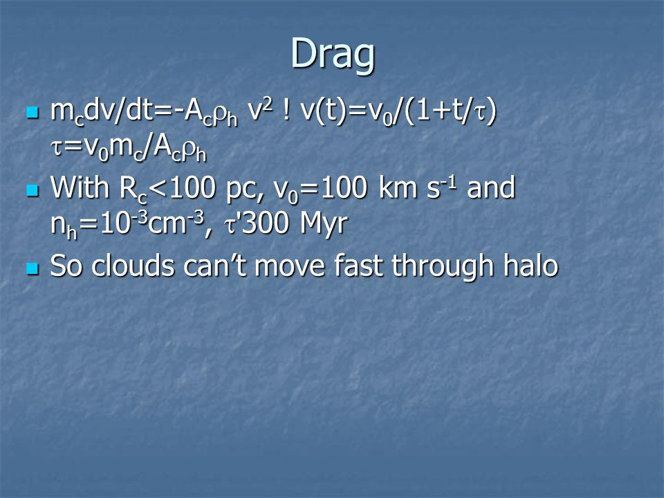 Drag m c dv/dt=-A c  h v 2 . v(t)=v 0 /(1+t/  )  =v 0 m c /A c  h m c dv/dt=-A c  h v 2 .
