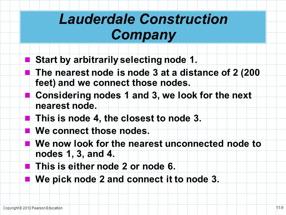 Copyright © 2012 Pearson Education 11-9 Lauderdale Construction Company Start by arbitrarily selecting node 1.