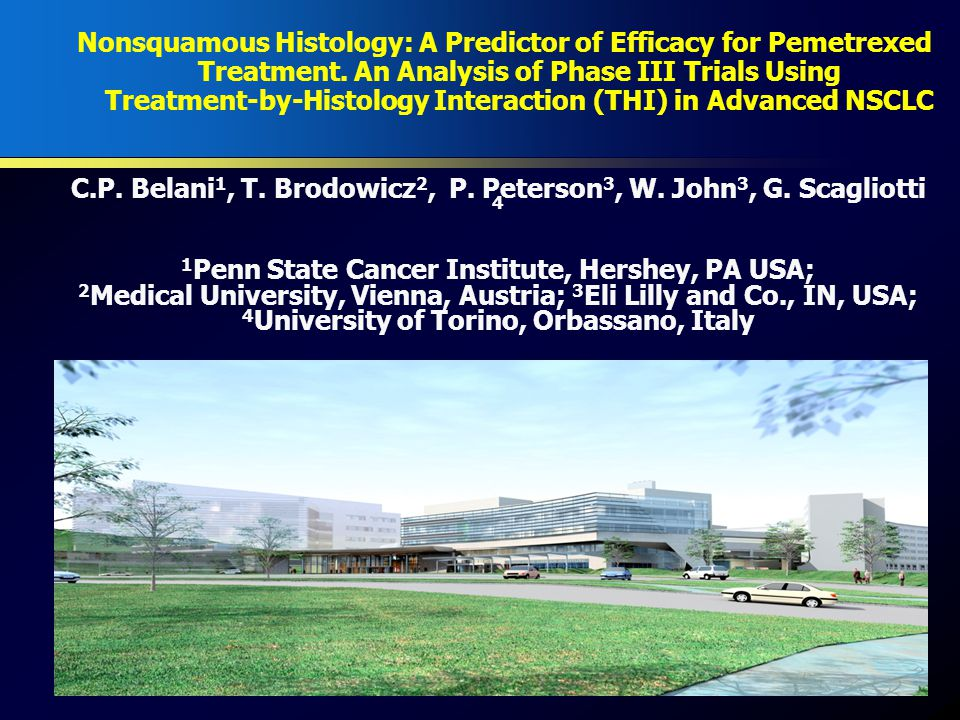  The identification of predictive factors may allow a tailored- approach to the treatment of patients  Treatment-by-histology interaction (THI) analyses predicts the relative efficacy of a specific treatment versus a comparator  Randomized phase III study of pemetrexed vs.