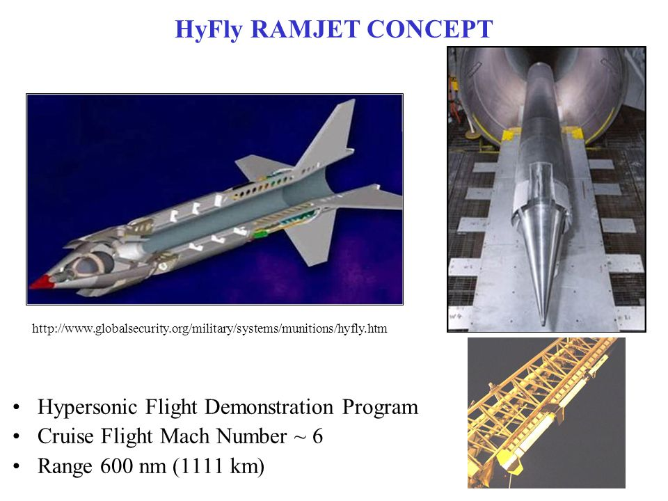 HyFly RAMJET CONCEPT http://www.designation-systems.net/dusrm/app4/hyfly.html HyFly program was initiated in 2002 by DARPA (Defense Advanced Research Projects Agency) and U.S.