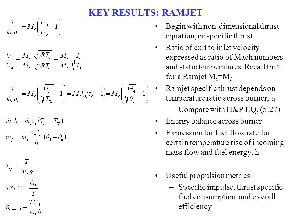 WHAT DID WE LEARN.Figure 5.9 from Hill and Peterson: Ramjet performance parameters vs.
