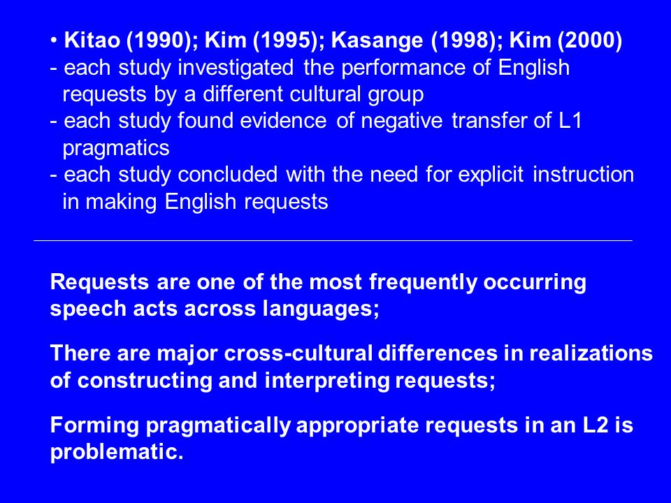 Kitao (1990); Kim (1995); Kasange (1998); Kim (2000) - each study investigated the performance of English requests by a different cultural group - eac