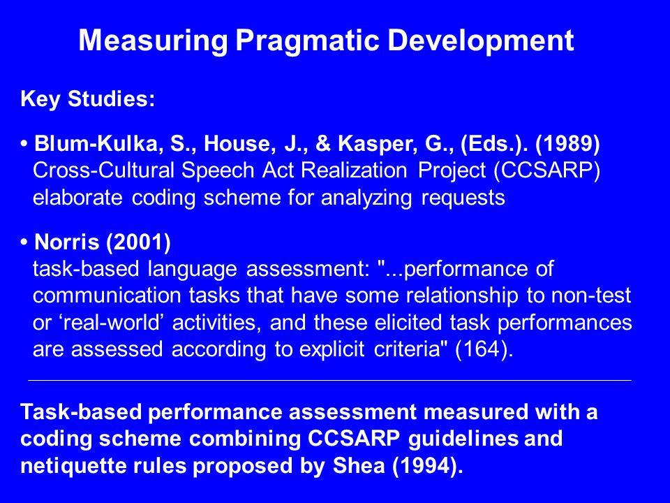 Measuring Pragmatic Development Key Studies: Blum-Kulka, S., House, J., & Kasper, G., (Eds.).