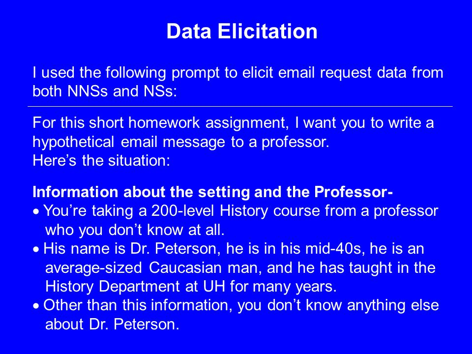 Data Elicitation I used the following prompt to elicit email request data from both NNSs and NSs: For this short homework assignment, I want you to write a hypothetical email message to a professor.