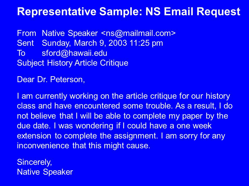 Representative Sample: NS Email Request From Native Speaker Sent Sunday, March 9, 2003 11:25 pm To sford@hawaii.edu Subject History Article Critique Dear Dr.